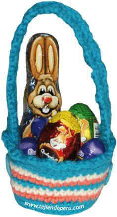 Amigurumi - Tejiendo Perú Basket Weave Crochet, Basket Weaving, Easter Crochet, Easter Treats, Easter Baskets, Easter Bunny, Christmas Ornaments, Holiday Decor, Crafts