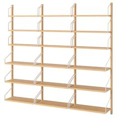 IKEA - SVALNÄS, Wall-mounted shelf combination, bamboo, With a spacious storage solution everything has its place; makes it easy to find your things. Shelves of different depths and widths mean you have space for everything from trinkets to books. Brimnes, Ikea Shelves, Wall Mounted Shelves, Shelving Units, Room Shelves, Mounted Tv, Svalnäs Ikea, Door Brackets, Bamboo Furniture