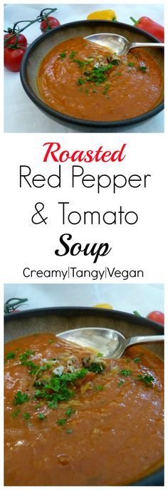 A creamy yet tangy roasted pepper & tomato soup that will cheer up even the coldest day!  This soup recipe is a comforting hug in a bowl.  Best of all? It's 100% vegan with no crazy ingredients.