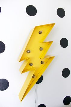 Colorful and Graphic Big Boy Room Modern Superhero Toddler Room Lightning Bolt Marquee