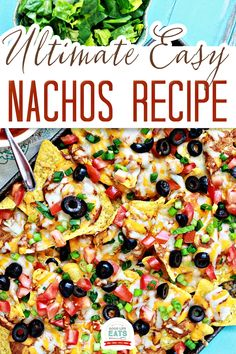 This is the BEST nachos recipe! You can whip up these easy baked nachos in a pinch. This Super Bowl appetizer is simple to prepare (and serve), leaving you with more time to socialize, eat, and enjoy the game! I love snack foods and appetizers. And I'm really digging this easy nachos recipe! | Good Life Eats @goodlifeeats #bestnachosrecipe #easynachosrecipe #gamedayfood #superbowlrecipes #footballfood #partyappetizer #easynachos #bestnachos #goodlifeeats Appetizers For Party, Appetizer Recipes, Snack Recipes, Snacks, Summer Recipes, Great Recipes, Best Nacho Recipe, Beef Recipes, Vegetarian Recipes