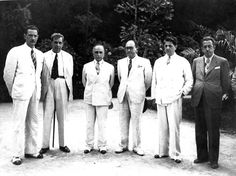 Filinto Müller, Góes Monteiro, Getúlio Vargas, Valdemar Falcão, Benedito Valadares e Israel Pinheiro (da esquerda para a direita), 1938. São Lourenço (MG). (CPDOC/ BVa foto 078/4)