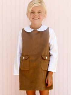 Pinafore - Camel Corduroy from Little Citizens Boutique  NOTHING cuter than a plain pinafore!