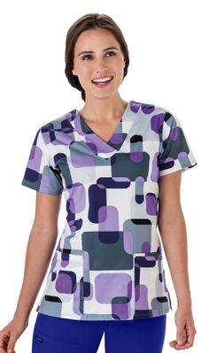 Geo Purple JOCKEY™ Print V-Neck Top