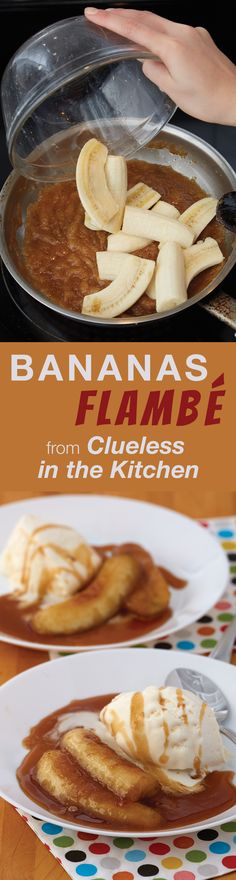 Now this is fun. Really fun. That Bananas Flambé happens to be a crazy delicious dessert is almost beside the point.This is an excellent dessert. Fruit Recipes, Desert Recipes, Sweet Recipes, Cooking Recipes, Recipies, Kitchen Recipes, Just Desserts, Delicious Desserts, Yummy Food