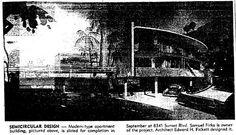 The semi-circular Villa Capri Apartments, 8341 Sunset, Devon Uk, Sunset Strip, Pacific Coast Highway, Downtown Los Angeles, Esquire, Beverly Hills, Apartments, Capri, Hollywood