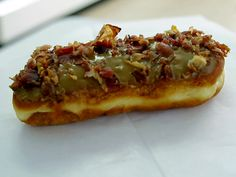 Maple Glazed Bacon Long John from FoodNetwork.com - where I come from this is a maple bar & yes, bacon makes everything better!!