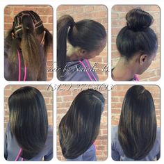 Your sew-in hair weave should be this natural-looking and versatile!....Hair by Natalie B. ---PERFECT PONY SEW-IN HAIR WEAVE...Call/Text (312) 273-8693 to schedule your appointment. ---HAIR USED: Malaysian Relaxed Natural (www.naturalgirlhair.com)