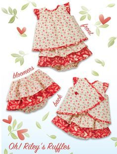 "Kwik Sew - ""Oh! Riley's Ruffles"", Baby Apron Dress & Ruffled Bloomer Pattern Sewing Baby Clothes, Baby Clothes Patterns, Baby Sewing, Baby Patterns, Clothing Patterns, Sew Baby, Free Sewing, Kwik Sew Patterns, Dress Sewing Patterns"