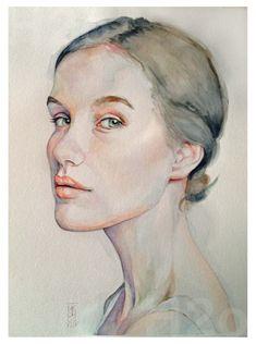 Acuarela Watercolor Face, Watercolor Portraits, Art Faces, Face Art, Portrait Art, Artworks, Profile, Drawing, Illustration