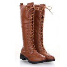 British Style Engraving and Lace-Up Design Knee High Boots.