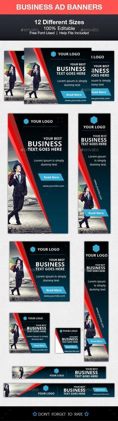 Buy Business Advert Banners by ecreativesol on GraphicRiver. Business Advert Banners helps you to Promote your Business with these eye catching Banners. Brochure Design, Flyer Design, Website Promotion, Information Graphics, Promote Your Business, Banner Template, Banner Design, Cover Photos, Lorem Ipsum