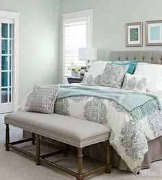 Classic Color Schemes That Never Go Out of Style - Silver + Seafoam: The silvery side of gray can give a room a little twinkle. It's an alternative to stark white and fits right in with the trend toward soft, livable colors.  To accentuate the frostiness of gray, pair it with a cool color. In this bedroom, light touches of teal move the space from a monochromatic scheme to a fresh-looking two-color palette.