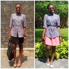 Mira La Belle: One Look, Two Ways- Oversized Shirt + Skirt