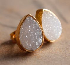 Druzy earrings, teardrop shaped.--I wear these almost every day. Love them!