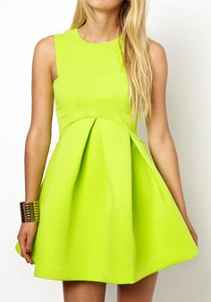 Buff Plain Pleated Round Neck Sleeveless Dacron Dress