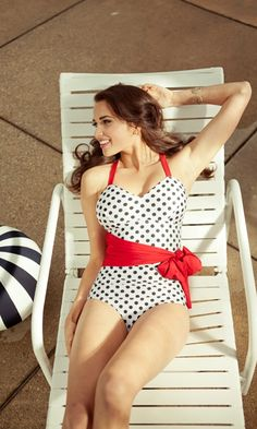 f477a7874c Polka-dot Swimsuit from Shabby Apple. I love the vintage style with the  polka dots. Very pin-up girl.