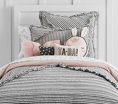 Whimsical stripes decorate our Emily & Meritt Ruffle Stripe Quilted Bedding for a bold and playful look that children will love. Ruffle Quilt, Striped Quilt, Striped Bedding, Girls Bedroom, Girl Nursery, Bedroom Ideas, Tulle Crib Skirts, Emily And Meritt, Black Bed Linen