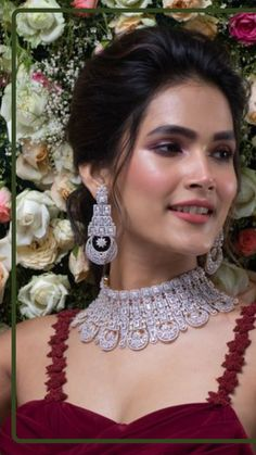 Luxury at its finest! This CZ choker set will make you look gorgeous on your special day. It is handcrafted with floral motifs and premium quality CZ stones. Beautifully cut CZ stones along with gold & rhodium embellishment makes this choker a queenly affair. Bridal Jewellery Online, Bridal Jewelry, Gold Choker Necklace, Necklace Set, Bridal Gallery, High Fashion Dresses, Summer Jewelry, Looking Gorgeous, Necklace Designs