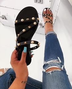 Shop Women's Black Gold size 6 Sandals at a discounted price at Poshmark. Description: Boho Rhinestone Jelly Sandals *straps are not adjustable as they are plastic*. Shoes Flats Sandals, Sandals Outfit, Shoe Boots, Heels, Leather Sandals, Pretty Shoes, Cute Shoes, Me Too Shoes, Trendy Sandals