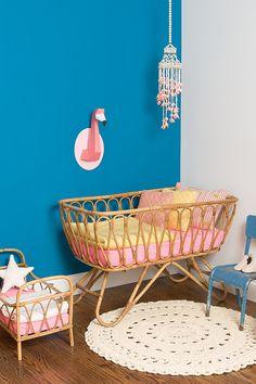 Chloé FLeury - Flamingo Nursery (photo by Sabrina Bot) kinderkamer babykamer roze geel Baby Bedroom, Baby Room Decor, Kids Bedroom, Nursery Decor, Girl Nursery, Girl Room, Curtains Childrens Room, Baby Nook, Flamingo Nursery