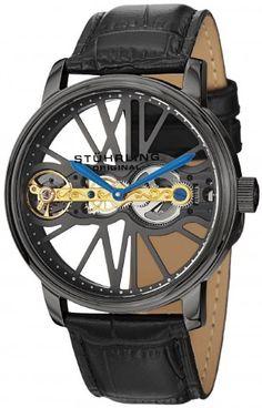 Stuhrling Original 527.33F569 Winchester Bridge Black Mechanical Skeleton Watch For Men