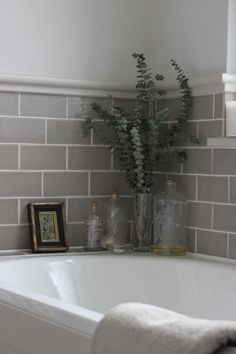 Grey Bathroom Renovation Ideas: bathroom remodel cost, bathroom ideas for small bathrooms, small bathroom design ideas Upstairs Bathrooms, Grey Bathrooms, Beautiful Bathrooms, Tiled Bathrooms, Small Bathroom Tiles, Grey Bathroom Tiles, Paint Bathroom, Bath Room Tile Ideas, Bathroom Moulding