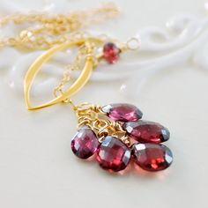 Rhodolite Garnet Lariat Necklace Raspberry Genuine by livjewellery, $69.00