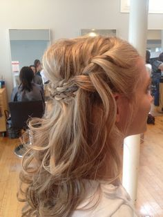hair half up half down plait - Google Search