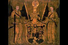 FAHNE LM-17724.1-2 Fahne. Wohl einer kirchlichen Bruderschaft angehörig. Tuch, bemalt. 1500 - 1510. Herkunft: Zug. Masse: Höhe 106 cm, Breite 120.5 cm. (LM-17724)