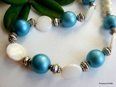 Beautiful Beaded Necklace  Blue / Silver / White by SoupspoonGifts, $35.00 Beaded Necklace, Beaded Bracelets, Blue And Silver, Etsy, Beautiful, Jewelry, Fashion, Beaded Collar, Moda
