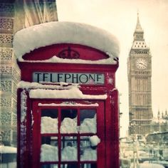 #telephone #big ben #london #snowy