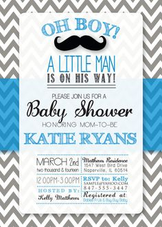 Baby Shower MUSTACHE themed Invitation by FunablesCreations, $8.00