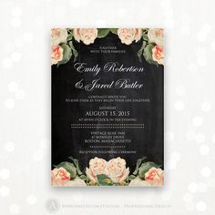 Printable Wedding Invite Chalkboard Floral Weddings by AmeliyCom