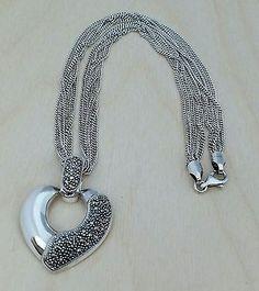 Sterling Silver 925 Marcasite Heart Pendant Multi-strand Chain Necklace