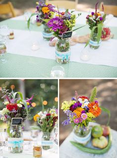Simple and pretty summer flower arrangements | http://www.weddingpartyapp.com/blog/2014/09/08/farm-to-table-wedding-andria-lo-photography/