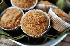 Healthy Applesauce Carrot Muffins {i.e. Carrot Cake Muffins} sub more applesauce for egg.