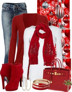 I LOVE THIS OUTFIT! It is the perfect after hours look for the holiday season. The red makes it festive. The heels and accessories make it above casual. My one suggestion would be to go with a darker/dressier jean. You will still be comfortable and look very well put together. ~Michele