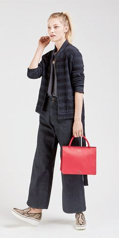 Culottes + a #louandgrey print jacket + a bold red bag = one seriously cool outfit. Click through for 30 days-worth of style on goop.com. cc. @louandgrey