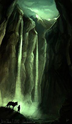 Discovery by *Lhuin on deviantART Fantasy Places, Fantasy World, Fantasy Art, High Fantasy, Environment Concept Art, Environment Design, Illustrations, Illustration Art, Level Design