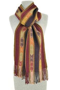 The scarves are woven by artisans from the Sallac, a highland village member of the Cusco Center for Traditional Textiles (CTTC). CTTC works with Quechuan-speaking artisans to help preserve Inca textiles and weaving traditions.