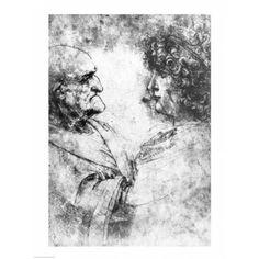 Study of a nutcracker man and beautiful youth c1500 Canvas Art - Leonardo Da Vinci (18 x 24)