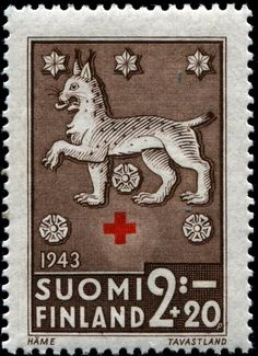 Finland, + (semi-postal issue), 1943 : : one in a series of four released in January featuring Coats of Arms (feudal). Postage Stamp Art, Going Postal, Vintage Stamps, Cool Posters, Mail Art, Stamp Collecting, My Stamp, Bunt, Ephemera