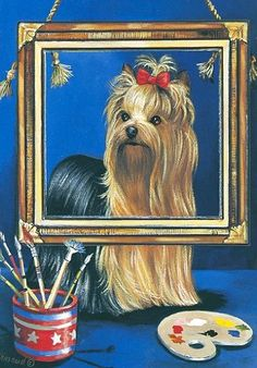 Precious Pet Paintings X Yorkshire Terrier Flag Pictures Of Flags, Dog Artwork, Beautiful Drawings, Little Dogs, Animal Paintings, Pretty Pictures, Animals And Pets, Fur Babies, Cute Dogs