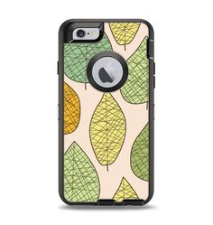 The Abstract Pastel Lined-Leaves Apple iPhone 6 Otterbox Defender Case Skin Set