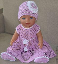 """Купить Летний комплект """"Нежность"""" - вязание для кукол, летнее платье, шапочка для куклы, подарок для детей"""