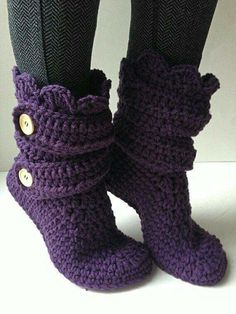 Purple slippers... my mother would have made these for me. I miss her.