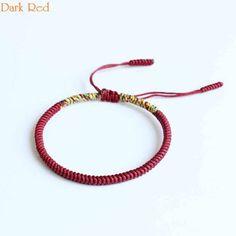 a69aa6f472 Original Multi Color Tibetan Buddhism Handmade Knot Lucky Rope Bracelet Red  Dark Red Yellow Bangle R