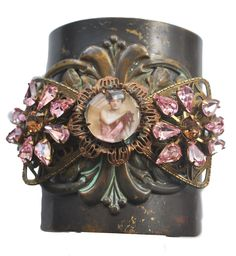 Lady in Pink Wearable Art Cuff with Vintage Rose Swarovskis, Neo Victorian Jewelry