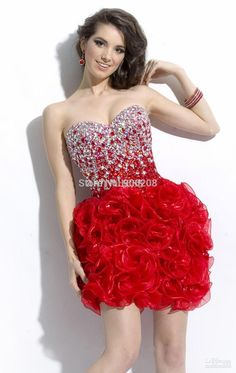 Sexy Beading Red Short Homecoming Dresses 2015 A Line Sweetheart Neck Custom Made Open Back Prom Party Gown Vestidos de baile